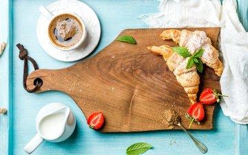 мята, клубника, кофе, ягоды, завтрак, сливки, круассан, круассаны, coffee cup
