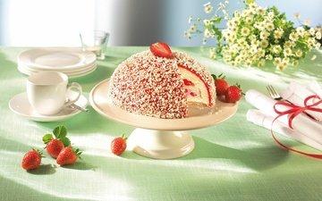 цветы, клубника, ромашки, букет, ягоды, сладкое, торт, десерт, сервировка