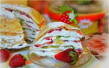 фрукты, клубника, ягоды, киви, торт, банан, блины, кулич, крем, блинный торт