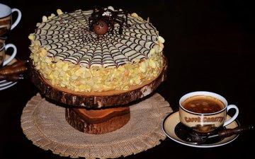 кофе, чашка, торт