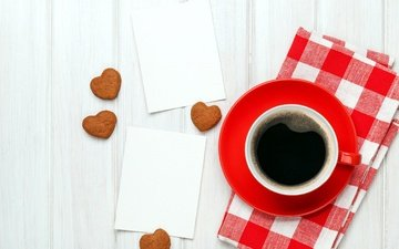 кофе, чашка, сердечки, печенье, день святого валентина