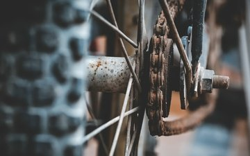 wheel, chain, bike, rust, spokes