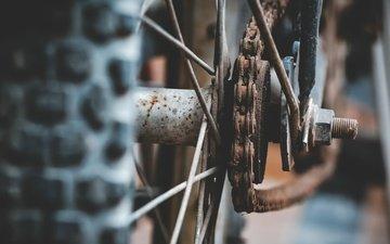 колесо, цепь, велосипед, ржавчина, спицы