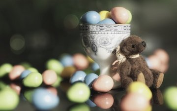 candy, toy, easter, eggs, bear, teddy bear, pills