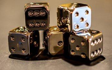 кубики, кости, золотые, игральные