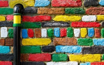 краски, цвет, стена, яркие, труба, кирпичи