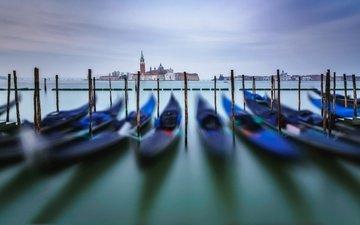 лодки, венеция, гондола, италия, hdr