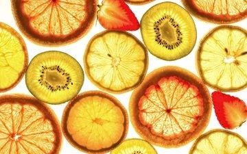 макро, фрукты, клубника, лимон, ягоды, апельсин, дольки, киви, цитрусы