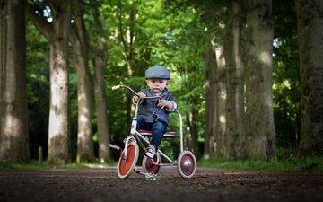 look, child, boy, bike, cap
