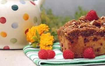 цветы, малина, ягоды, чайник, выпечка, кекс