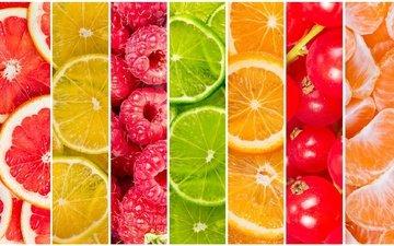 малина, фрукты, лимон, ягоды, апельсин, лайм, дольки, мандарин, смородина, цитрусы, грейпфрут