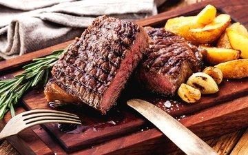 мясо, картофель, стейк, розмарин