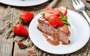 мята, клубника, шоколад, сладкое, тарелка, торт, десерт, кусок, крем