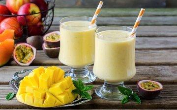 мята, напиток, фрукты, яблоки, коктейль, трубочка, манго, маракуйя
