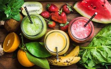 мята, напиток, фрукты, клубника, арбуз, ягоды, апельсин, киви, трубочка, банан, смузи