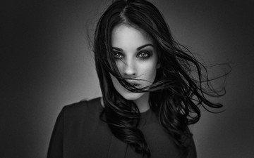 девушка, взгляд, чёрно-белое, модель, волосы, лицо, алла бергер, berger