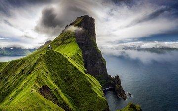 небо, облака, море, маяк, гора, побережье, остров, фарерские острова, каллур, кальсой