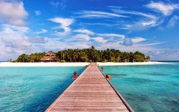 море, песок, пляж, пальмы, остров, тропики, мальдивы