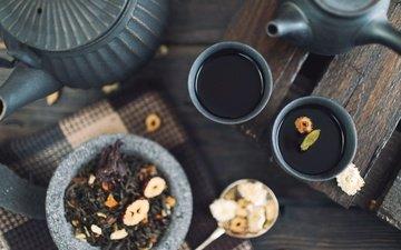 напиток, чай, чаепитие, чайник, чашки, заварник