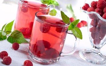 напиток, малина, кружка, ягоды, компот