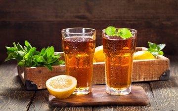 мята, напиток, стол, стаканы, лимоны, цитрусы, лимонад