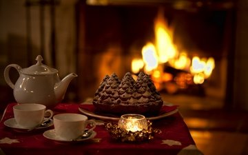 mood, fireplace, heat, tea, candle, holiday, pie