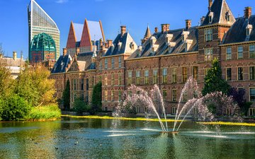 город, фонтан, архитектура, нидерланды, гаага