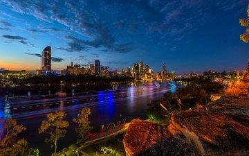 ночь, деревья, огни, река, камни, дома, набережная, здания, австралия, брисбен