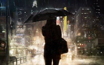 ночь, девушка, город, мегаполис, дождь, зонт