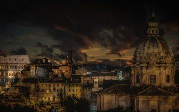 ночь, дома, италия, рим, купол, базилика