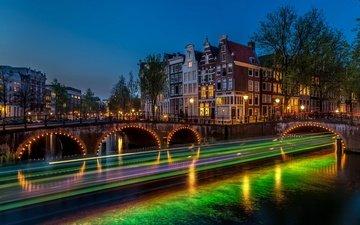ночь, фонари, огни, река, мост, выдержка, нидерланды, амстердам