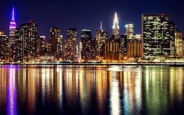 ночь, фонари, огни, река, небоскребы, дома, набережная, сша, нью-йорк