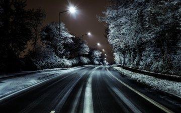 дорога, ночь, деревья, фонари, иней, улица