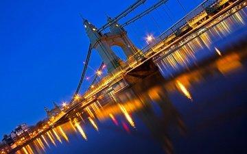 ночь, огни, лондон, англия, опора, хаммерсмитский мост