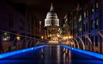 ночь, огни, лондон, англия, собор святого павла, мост тысячелетия, мост миллениум