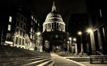 night, lights, london, england, st. paul's cathedral