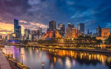 ночь, огни, мост, дома, австралия, арка, мельбурн