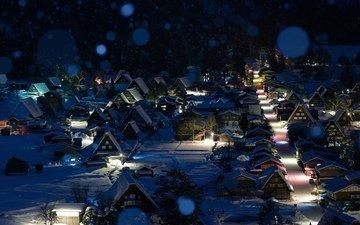 ночь, снег, зима, город, япония, сиракава