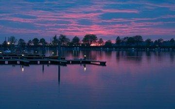 небо, облака, озеро, отражение, лодки, причал, зарево, германия, бавария
