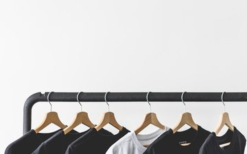 white background, clothing, hanger, t-shirt