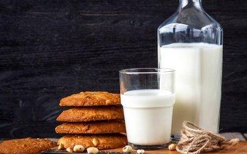 орехи, стакан, молоко, печенье