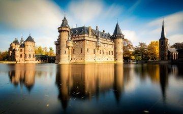 озеро, отражение, замок, башня, пруд, нидерланды, замок де хаар
