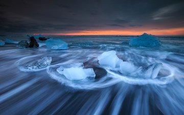 озеро, зима, песок, лёд, исландия, чёрный песок, йёкюльсаурлоун