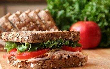 хлеб, помидоры, салат, сэндвич, ветчина, фаст-фуд