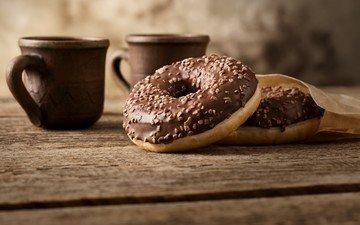 кофе, чашка, шоколад, сладкое, пончики, выпечка, десерт, глазурь
