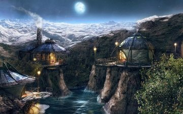 река, горы, деревня, луна, игра
