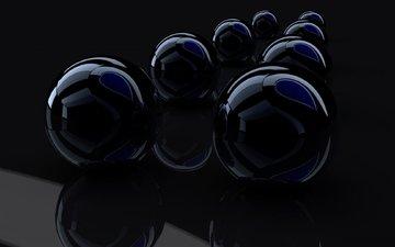 balls, reflection, rendering, glass, black