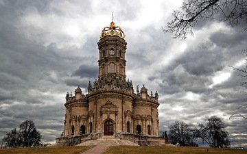 russia, church, temple of the sign of the virgin, dubrovitsy