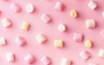 сладкое, розовый фон, зефир, маршмэллоу