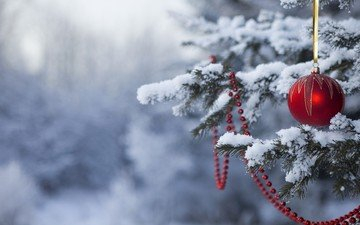 snow, new year, tree, forest, winter, ball, beads